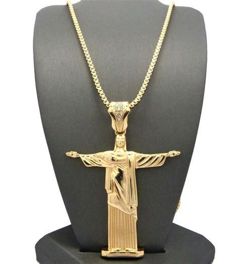 gold christ  redeemer jesus piece pendant hip hop chain