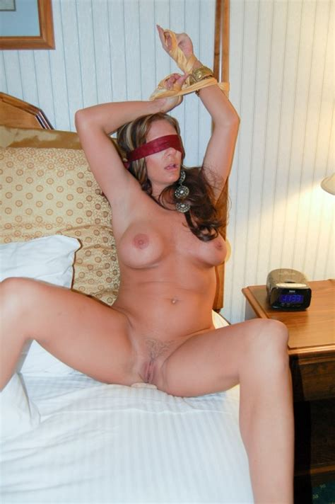 Blindfolded And Tied To The Bed Post Milf Luscious