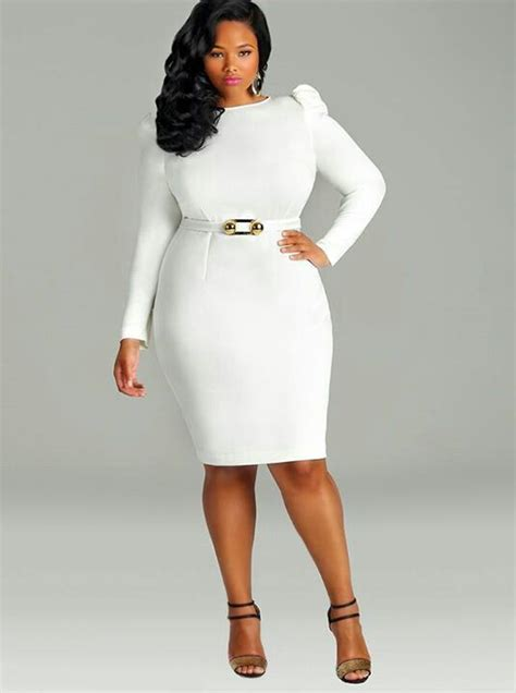 Girls Night Out Outfit. White Belted Dress and Black and Gold Heels | Plus Size Outfit Ideas ...