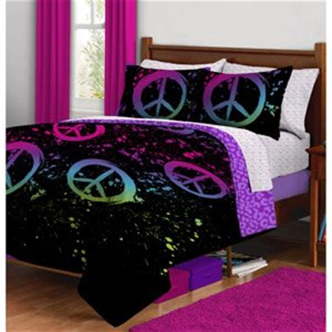 amazon com black purple pink peace sign twin girls comforter bed in a bag set