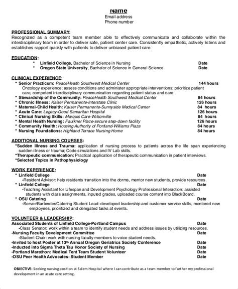 13072 nursing student resume for internship nursing student resume exle 10 free word pdf