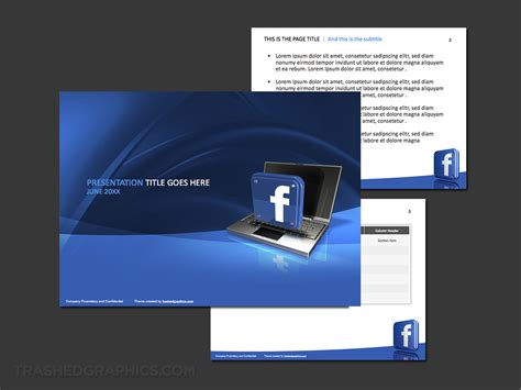 blue  white facebook powerpoint template trashedgraphics