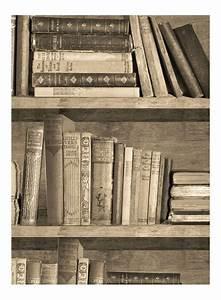 Papier Trompe L Oeil : papier peint trompe l 39 oeil biblioth que sepia par mineheart ~ Premium-room.com Idées de Décoration