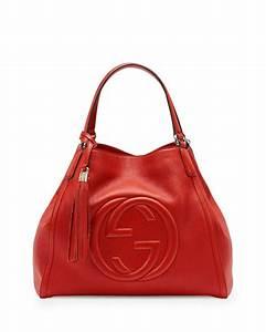 Gucci Soho Leather Shoulder Bag, Red