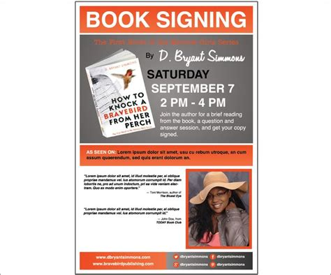 Book Signing Poster Template Book Signing Poster Template Choice Image Template