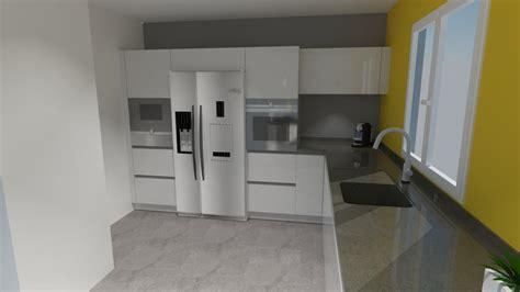 style utopée cuisine blanche moderne avec frigo americain