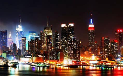 york city skyline  night hd wallpaper background images