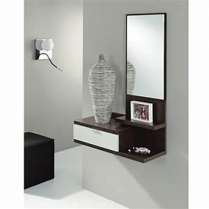 Meuble Entree Blanc : dahlia meuble d 39 entr e coloris weng blanc achat vente ~ Teatrodelosmanantiales.com Idées de Décoration