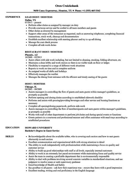 Host Resume by Host Hostess Resume Sles Velvet