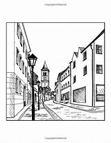 Perspective Landscape Coloring Drawing Point sketch template