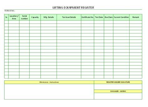 lifting equipment register