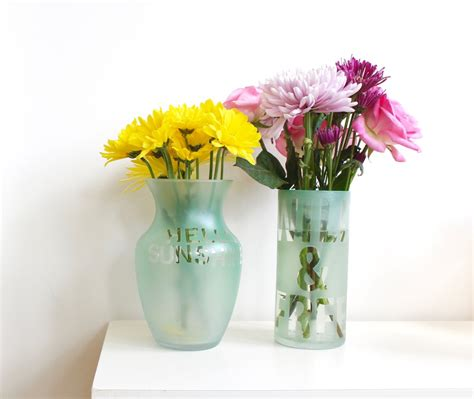 Colorful Vases by Colorful Etched Vases With Flower Puns And Sayings