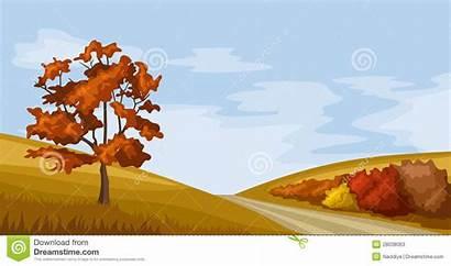 Autumn Landscape Vector Clipart Illustration Sky Tree