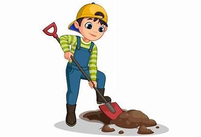 Cartoon Digging Hole Boy Clipart