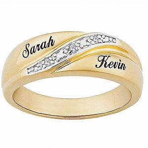Personalized men39s diamond accent 10kt gold name wedding for Wedding ring with names