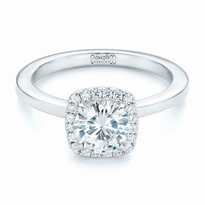 Custom diamond halo engagement ring 102460 for Halo engagement rings with wedding bands