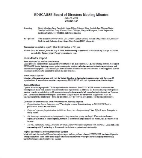 board of directors minutes of meeting template board of directors meeting minutes template 9 free