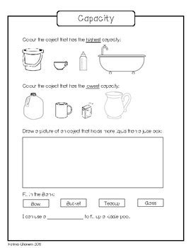 capacity worksheet by small teaching resources tpt