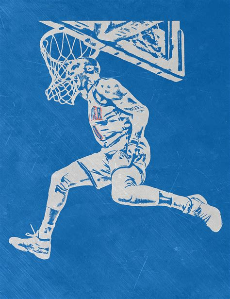Russell Westbrook Scratched Metal Art 1 Mixed Media By Joe