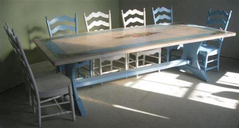 Hand Painted Trestle Table   Lake and Mountain Home