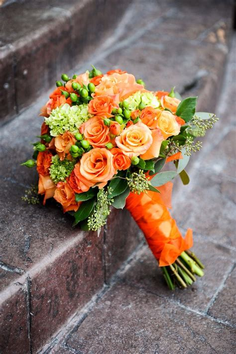 Obsessed With This Bouquet Orange Roses And Green