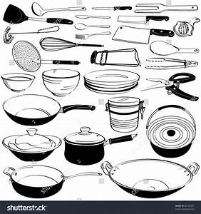 Kitchen Tool Utensil Equipment Doodle Drawing Stock Vector ...