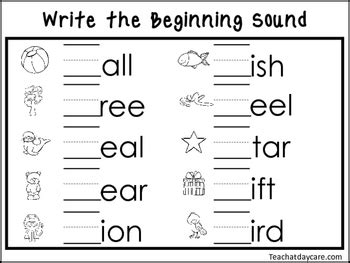 write  beginning sounds worksheets preschool kdg