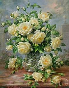 Albert Williams Princess Diana Roses in a Cut Glass Vase ...