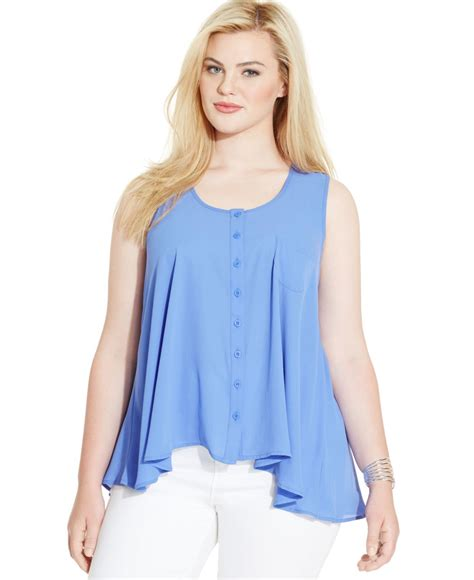 sleeveless button blouse style co plus size sleeveless button front blouse in