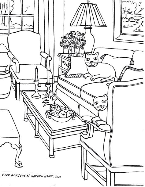 Coloring Living Room by Living Room Coloring Pages