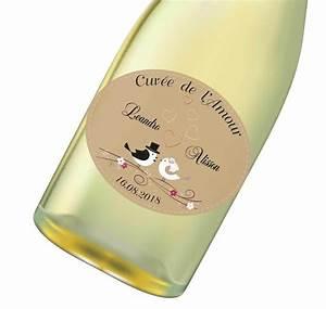 Etiquette Champagne Mariage : tiquette bouteille vin champagne forme ovale grenoble amalgame imprimeur graveur ~ Teatrodelosmanantiales.com Idées de Décoration