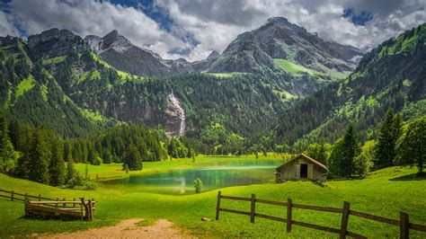Available in hd, 4k resolutions for desktop & mobile phones. Alps Fence Forest Lake Switzerland Waterfall 4K HD Nature ...