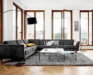 grand canape angle dans salon design boconcept With tapis jaune avec grand canape angle