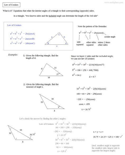 algebra 2 part of sines and cosines review worksheet