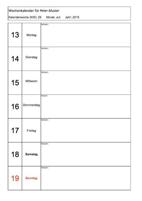 wochenkalender zum ausdrucken muster vorlagech