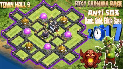 h9 top 2 farmig base elixir gold th9 best farming base 2017 town 9 new update anti 50 Coc