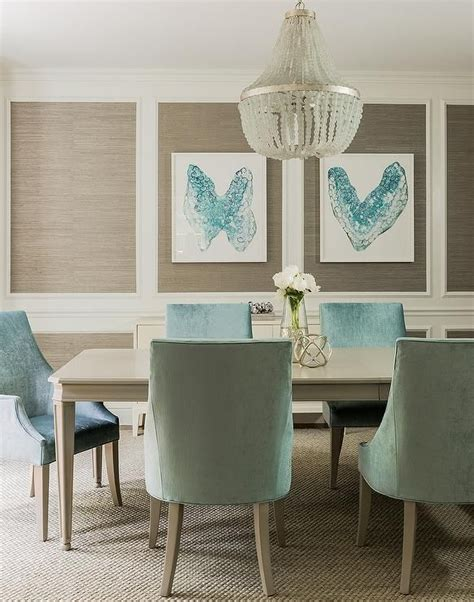taupe  turquoise blue dining room features stacked