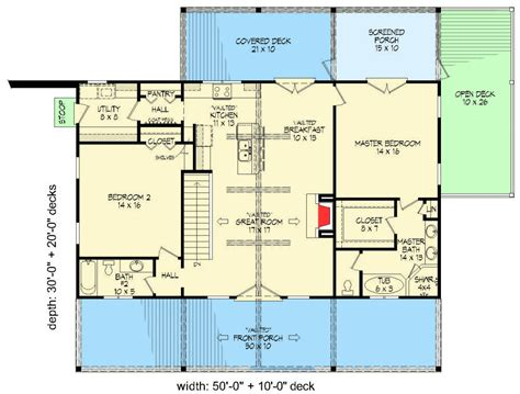 great room kitchen floor plans 2 bed ranch with vaulted great room for a sloping lot 6919