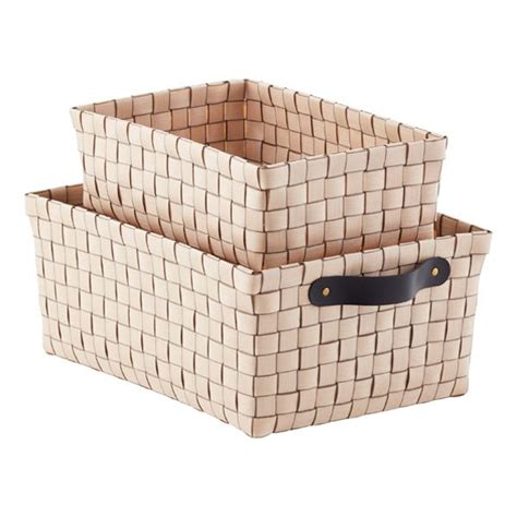 taupe rowan bins wicker baskets storage storage bins