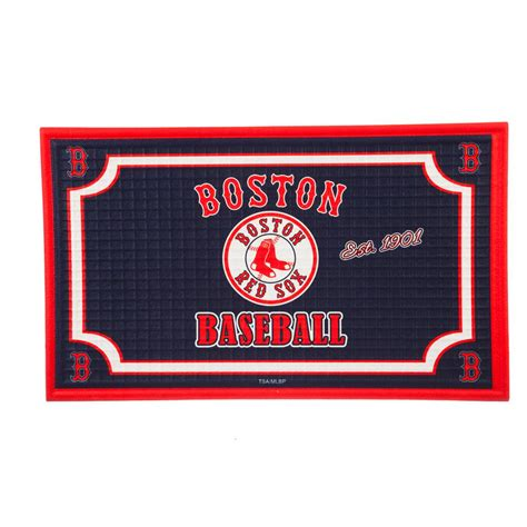 evergreen boston red sox 18 in x 30 in embossed welcome mat 41em4203 the home depot