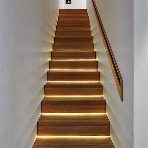 lights on staircases stair shelves led ideas