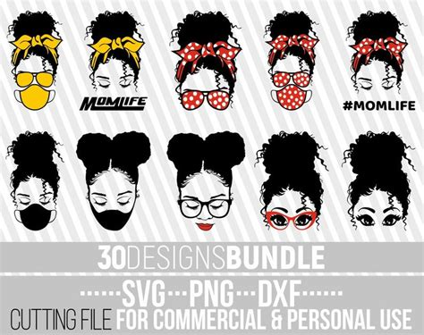 Messy bun with glasses svg, messy bun svg svg, hair bun clipart, messy bun cricut or silhouette, kiss band cut files, dxf, png and eps vector. African American Svg Bundles - Bundle Afro Woman SVG ...