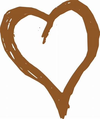 Heart Brown Cuore Clip Clipart Rustic Clker