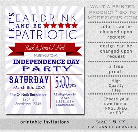 printable eat drink   patriotic red white retro