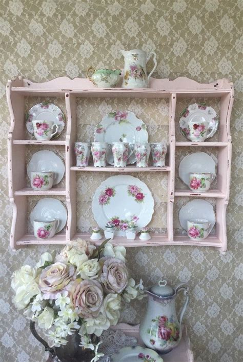 shabby cottage chic pink wall curio cabinetplate rackhanging display shelf vintage bowed