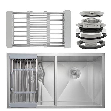 kitchen sink tray akdy handcrafted all in one undermount stainless steel 32 6555