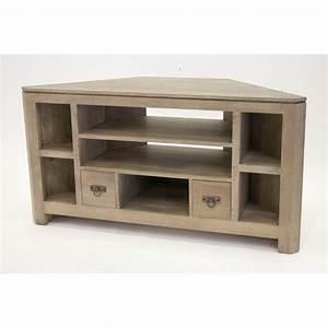 Meuble Tv Bois Massif Moderne : meuble tv d 39 angle bois massif helena pier import ~ Teatrodelosmanantiales.com Idées de Décoration