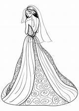 Coloring Pages Dresses Printable Wearing Drawings Colors Getcolorings Getdrawings sketch template