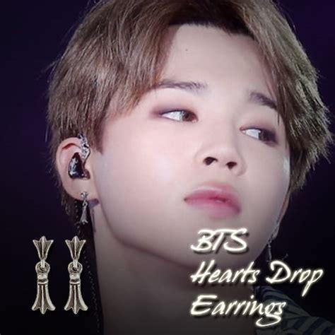 BTS BangtanBoys JIMIN Hearts Drop Earrings KPOP Hot Item