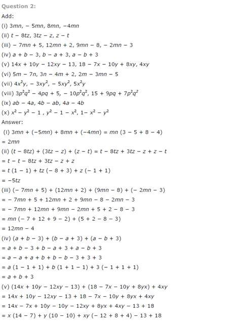ncert solutions  class  maths chapter  algebraic